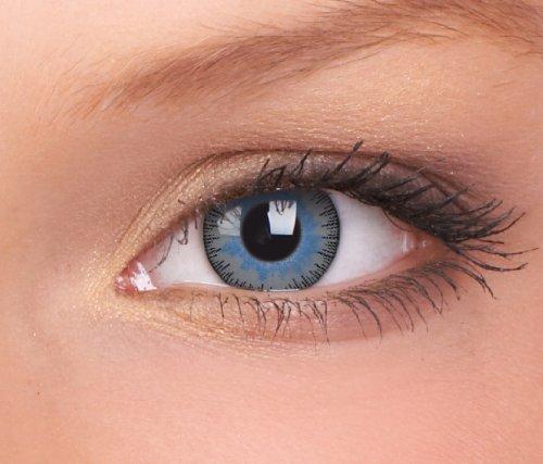 Farbige Kontaktlinsen 3-Monatslinsen & Color Contact lenses Blau - Grau / Blue-Grey 1 Paar (2 Stück) incl. 60ml Pflegemittel und Behälter!