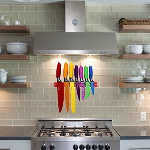 Colorful Knife Set and Magnetic Strip for Kitchen Organization