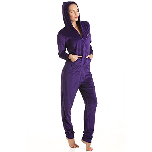Camille Women's Angel Velvet Hooded Onesie