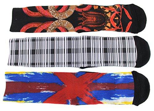 Marc Ecko Men's Crazy Sublimation Cotton Blend Crew Socks (3 Pair) (Black White Red)