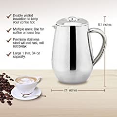 MIRA Stainless Steel French Press Coffee Tea Brewer Double Wall 1 Liter 34 Ounces (Coffee Press Pot, Cafetiere)s