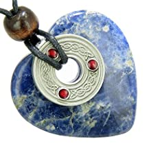 Celtic Triquetra Knot Protection Amulet Sodalite Gemstone Heart Pendant Necklace