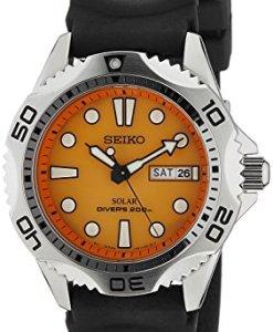 Seiko SNE109P1 - Reloj analógico de caballero de cuarzo con correa de goma negra (solar) - sumergible a 200 metros