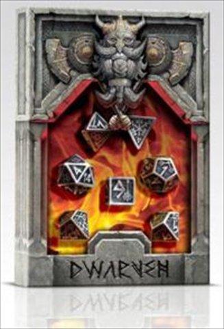 Polyhedral 7-Die Set of Metal Dice (7): Dwarven Metal Black Design - Solid Metal Import Dice (Die-Cast Designer)