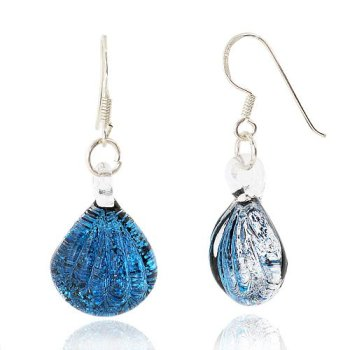 925-Sterling-Silver-Hand-Blown-Venetian-Murano-Glass-Blue-Clear-Sea-Shell-Shaped-Dangle-Earrings