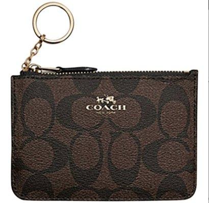 Coach-Brown-Signature-PVC-Canvas-Key-Coin-Pouch-Purse-Wallet-Case-63923