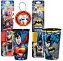 "Super Hero Inspired Batman Vs. Superman 4pc Bright Smile Oral Hygiene Set! Includes Turbo Power Toothbrushes & Matching Mouthwash Rinse Cup! Plus Bonus ""Remember to Brush"" Visual Aid!"