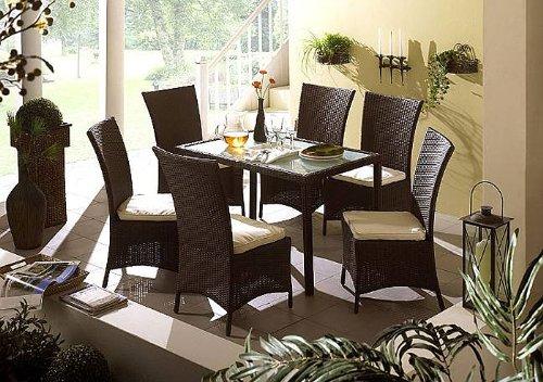 Gartenmöbel Tisch Demis braun 150x90x75cm Kunstfaser Polyrattan