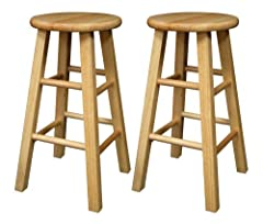 Winsome Wood 24-Inch Square Leg Barstool with Natural Finish, Set of 2