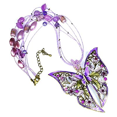 Purple Austrian Rhinestone Beads Butterfly Flower Brass ToneNecklace