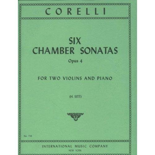 Corelli Arcangelo 6 Chamber Sonatas, Op. 4 for Two Violins and Piano - by Sitt - International