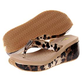 VOLATILE Mimi Womens Wedge Platform Shoes Sandals Black Gold Cheetah Animal Print Thong