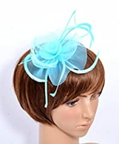 Womens Ladies Fascinator Hat with Headband Tea Party Derby Wedding Accessory (light blue)