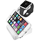 Kollea Appple Watch Charging Stand Aircraft Aluminum Docking Cradle Holder for Apple Watch 42mm & 38mm, iPhone 6 Plus / 6 / 5S / 5 /4S / 4 w Built-in Insert Slots