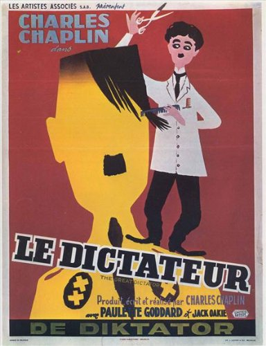 Movie poster - Charlie Chaplin as the Jewish Barber in The Great Dictator
