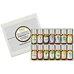 Essential Oil - Beginners Aromatherapy Set 100% Pure, Best Therapeutic Grade Essential Oil Kit - 14/10mL (Bergamot, Clary Sage, Cinnamon Leaf, Eucalyptus, Grapefruit, Lavender, Lemon, Lime, Patchouli, Peppermint, Rosemary, Spearmint, Sweet Orange, and Tea Tree)