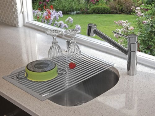 Amazon.com : Over the Sink Roll Up Drying Rack Instant Love, and perfect for a RV kitchen. Rolls up for storage, converts sink to a drying rack or extra food prep area.