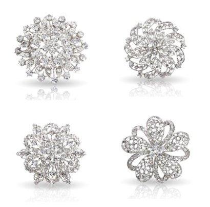 Bundle-Monster-Womens-Fancy-Vintage-Clear-Crystal-Bling-Bezel-Flower-Fashion-Brooch-Set-1-4pcs-per-set