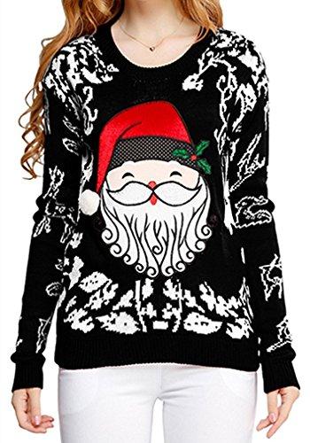 Ugly-Christmas-sweater-V28-Women-Girls-ladies-Reindeer-Fun-Cute-Knit-Sweater