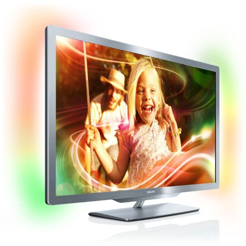 Philips 42PFL7606K/02 107 cm (42 Zoll) Ambilight 3D LED-Backlight-Fernseher, Energieeffizienzklasse A (Full-HD, 400 Hz PMR, DVB-T/C/S, Smart TV) silbergrau