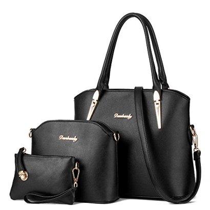 LINGTOM-3-pieces-Lady-Womens-PU-Leather-Shoulder-Bags-Top-Handle-Cross-Satchel-Handbag-SetBlack