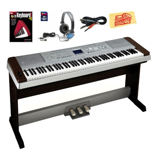 Yamaha DGX640W Digital Piano Bundle with 3-Pedal System, 8GB SD Card, Audio Cable, Headphones, Instructional Book, and Polishing Cloth - Walnut