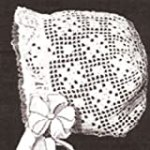 Vintage Crochet PATTERN to make – Antique Baby Cap Hat Bonnet in Filet Crochet. NOT a finished item. This is a pattern and/or instructions to make the item only.