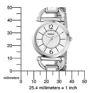 jam tangan Fossil Women's ES2473 Ultra-Slim White Stainless Steel Bracelet White Analog Dial Watch
