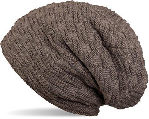 styleBREAKER warme Feinstrick Beanie Mütze mit Flecht Muster und sehr weichem Fleece Innenfutter, Unisex 04024058