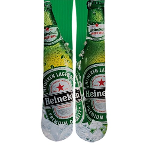 DopeSox Men's Heineken Beer Bottle Elite Custom Socks One Size (6-12) White