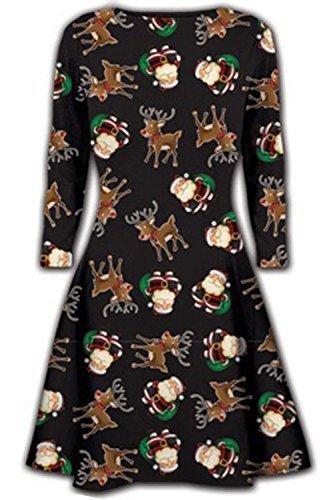 Schwingenkleid Damen Langarm Winter Weihnachtsneuheit gedruckten Party