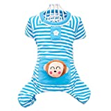 Froomer Small Puppy Pet Dog Stripes Pajamas Jumpsuits Clothes Clothing Blue Small