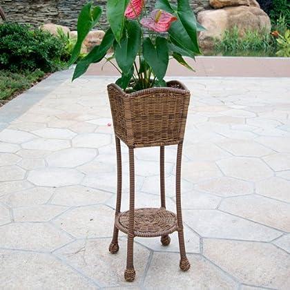 jeco jeco wicker patio furniture planter stand honey wicker frankmorganrobert