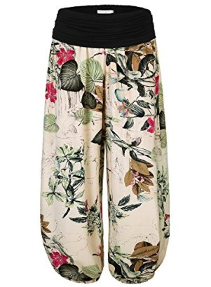 BAISHENGGT-Womens-Floral-Print-Elastic-Waist-Harem-Pants-Large-Apricot-Floral