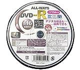 ALL-WAYS DVD-RCPRM対応4.7GB1回録画用ワイドプリンタブル1-16倍速スピンドルケース10枚入り ACP16X10PW