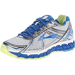 Brooks Women's Adrenaline Gts 15 White/DazzlingBlue/SharpGreen Running Shoe 8 Women US