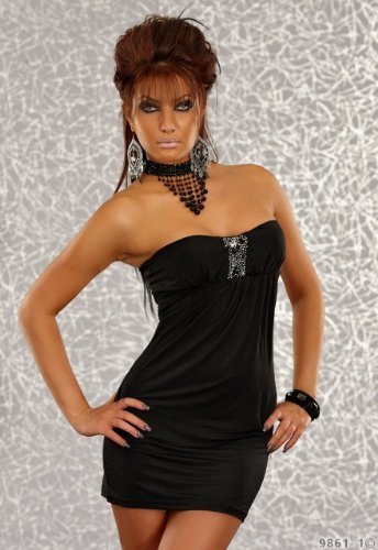 Minikleid Cocktailkleid in Bandeau Form mit Strass schwarz