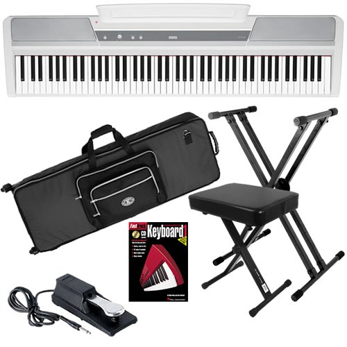 Korg SP-170s White Digital Piano STAGE BUNDLE w/ Case & Stand