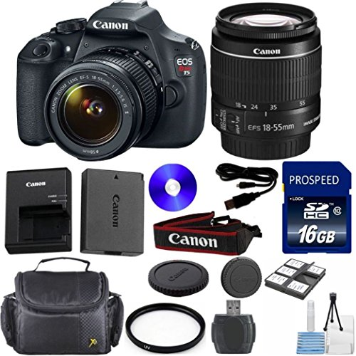 Canon Rebel T5 DSLR Camera Body with Canon 18-55mm IS II Standard Lens 33rd Street Exclusive Bundle + 16GB Class 10 SD Memory Card + SD Memory Reader + Deluxe Camera Carrying Case + Commander Starter Kit + Commander U.V. Filter + Deluxe Accessory Kit