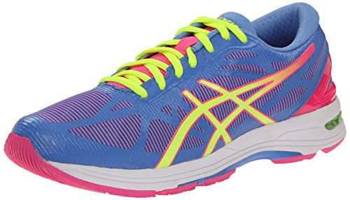 ASICS Women's Gel-DS Trainer 20 Running Shoe, Powder Blue/Flash Yellow/Hot Pink, 8 M US