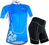 Sponeed Women's Cycle Jersey Bike Clothing Gel Padded Short Sleeve Mysteriousness Size M US Blue