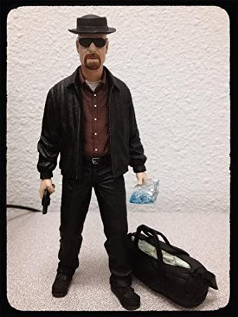 """Mezco Toyz Breaking Bad Heisenberg Walter White 6"""" Action Figure with Bag of Cash and Blue Crystals"""