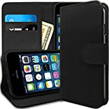 [Stand View] Caseology Apple iPhone 6 [Black / Black] Premium PU Leather [Wallet Case] with Built-in Media Stand, ID Credit Card / Cash Slots and Inner Pocket (For Verizon, AT&T Sprint, T-mobile, Unlocked)