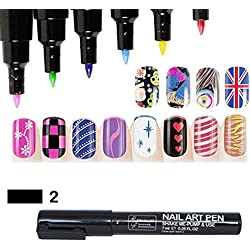 16 Farben Nagel Kunst Feder Nageldesign Stift DIY für Nail Art Salon Beauty