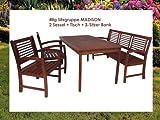 4tlg Sitzgarnitur MADISON Garten Sitzgruppe Tisch Garnitur Eukalyptus FSC