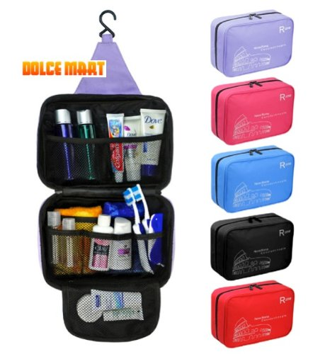 【Dolce Mart】吊るせるトラベル バッグ 小物整理 旅行に最適 コスメ 化粧品 ポーチ (ブラック)