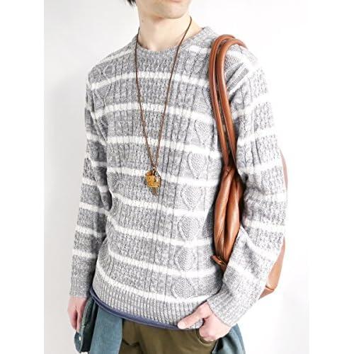 (モノマート) MONO-MART フィッシャーマン ニット セーター クルーネック 起毛 ゆる ケーブル編み シルエット 春 カラー 長袖 メンズ グレー×ホワイト Lサイズ