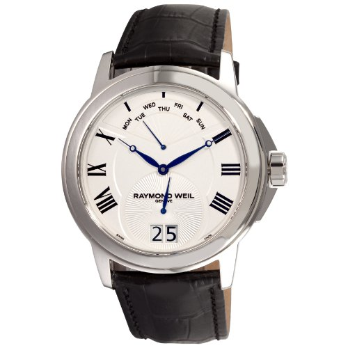 Raymond Weil Tradition Mens Stainless Steel Day Date White Dial Watch 9577-STC-00650