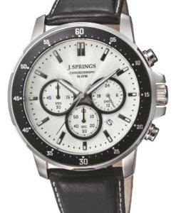 J.Springs Chronograph - Reloj de cuarzo para hombre, correa de cuero color negro