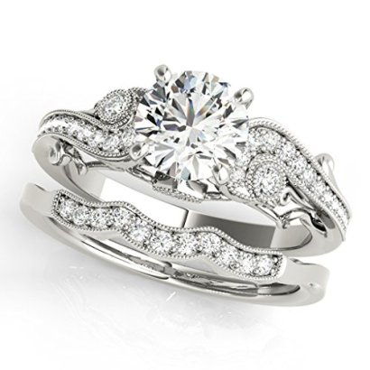 060-Ct-Diamond-Engagement-Bridal-Ring-Set-14K-Solid-White-Gold